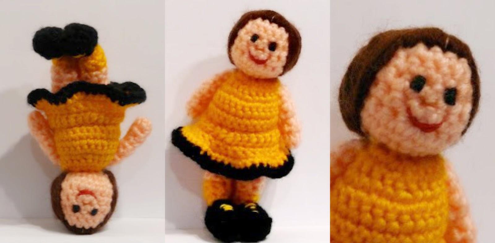 muñeca amigurumi amarillo hecha a mano