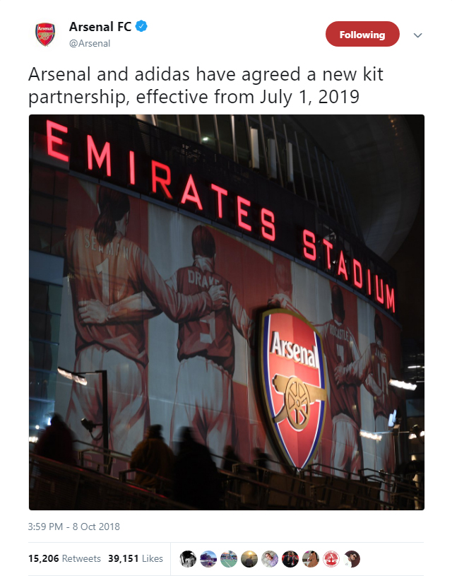Arsenal have announced a new kit sponsorship deal with adidas