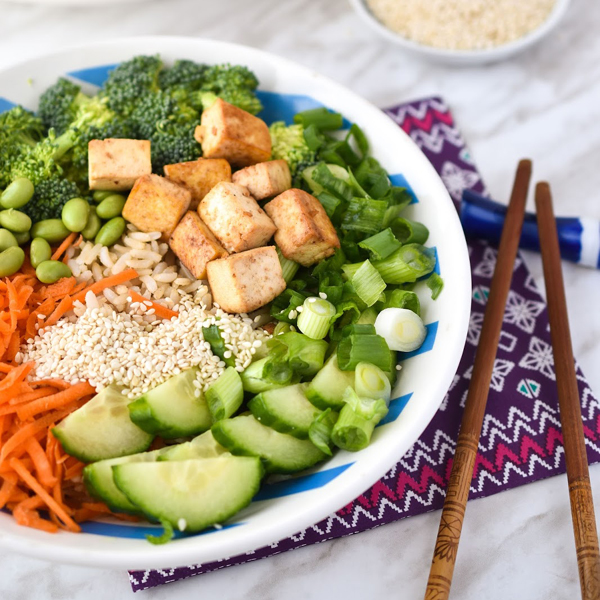 Healthy plant based teriyaki dinner with tofu