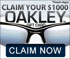 Get a free $1000 gift card good for Oakley Products