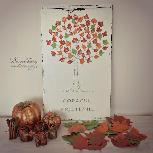 decor de toamna handmade carte de oaspeti copac