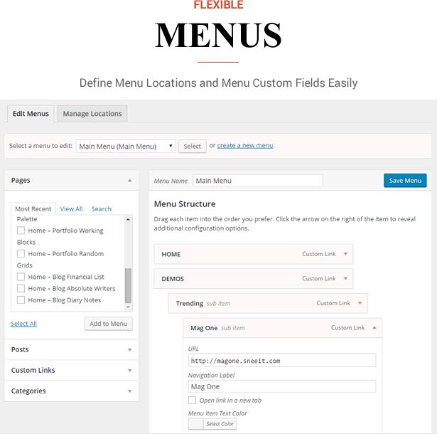 Sneeit Framework Plugin - Back-end para temas WordPress - Locais de menu e campos personalizados