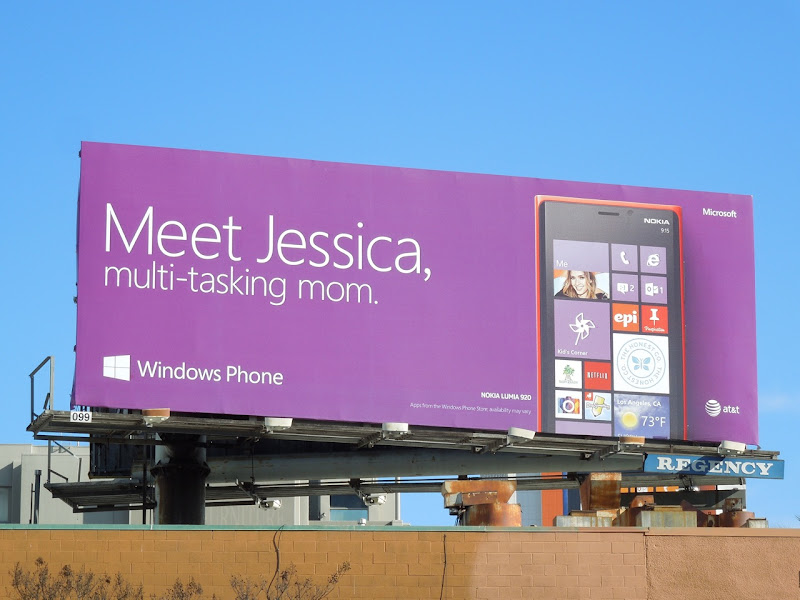 Meet Jessica Multi tasking Mom Windows Phone billboard