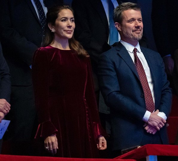 Crown Princess Mary wore a cherry wine colour tailored velvet midi dress by Beulah London and Pura Lopez Kameron pumps