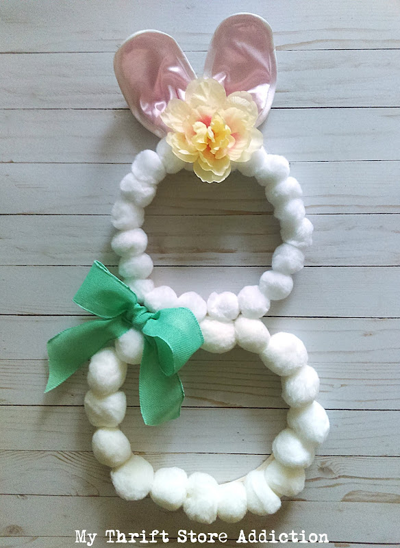 whimsical Easter bunny pom-pom wreath