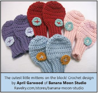 Crochet Thumbless baby mitten pattern with accent button by April Garwood of Banana Moon Studio