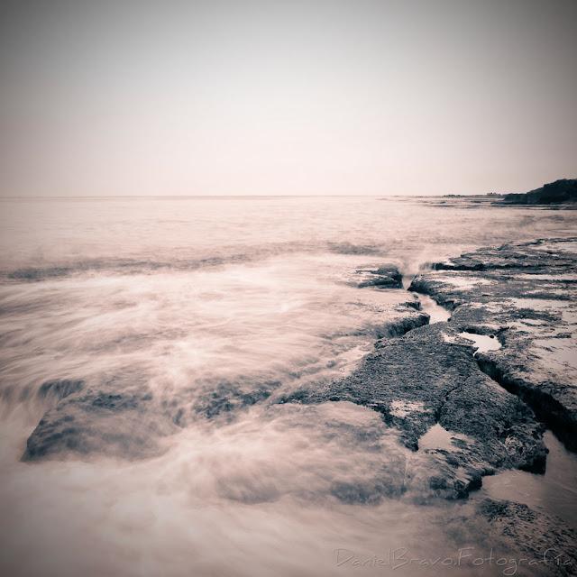 fotografía, mar, rocas, corriente, olas, Torrevieja, sepia