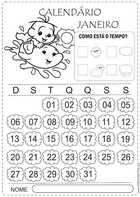Calendários 2019 Turma da Mônica baby para imprimir