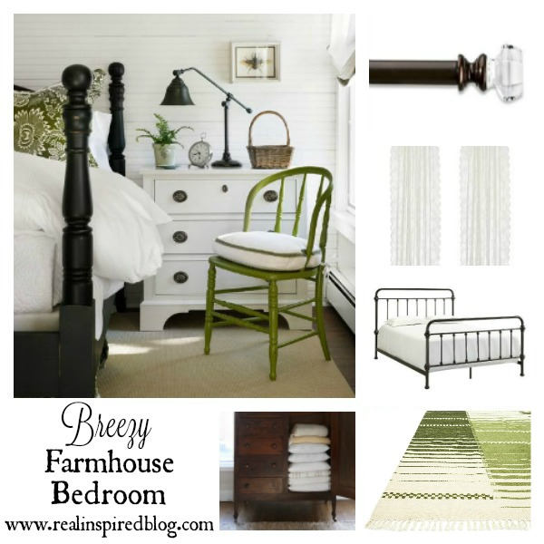 Mood boards are a great way to start planning a room design. I've put together a new mood board for a breezy farmhouse guest bedroom with white walls, lace curtains, dark metal and wood for fixtures and furniture, with pops of green for a fresh accent color. So soothing and cozy!