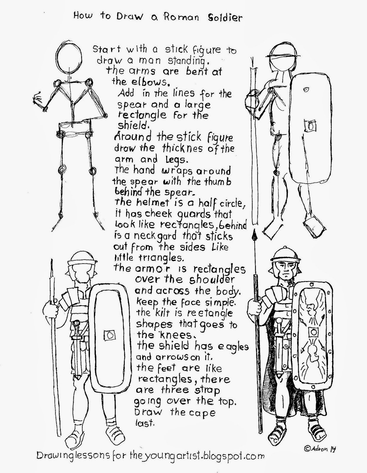 How To Draw Worksheets For The Young Artist How To Draw A Roman Legion Sol R Worksheet