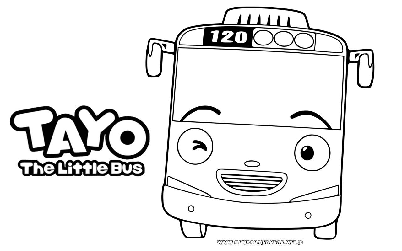 Download Lembar Mewarnai Gambar Tayo The Little Bus