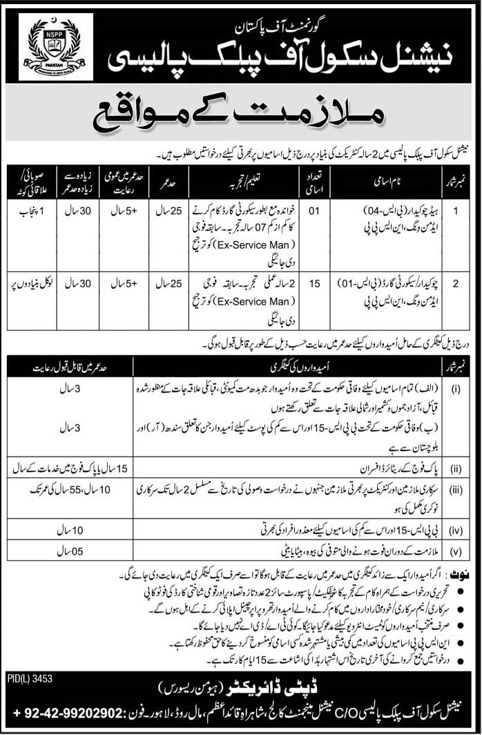 National School Of Public Policy Lahore Jobs