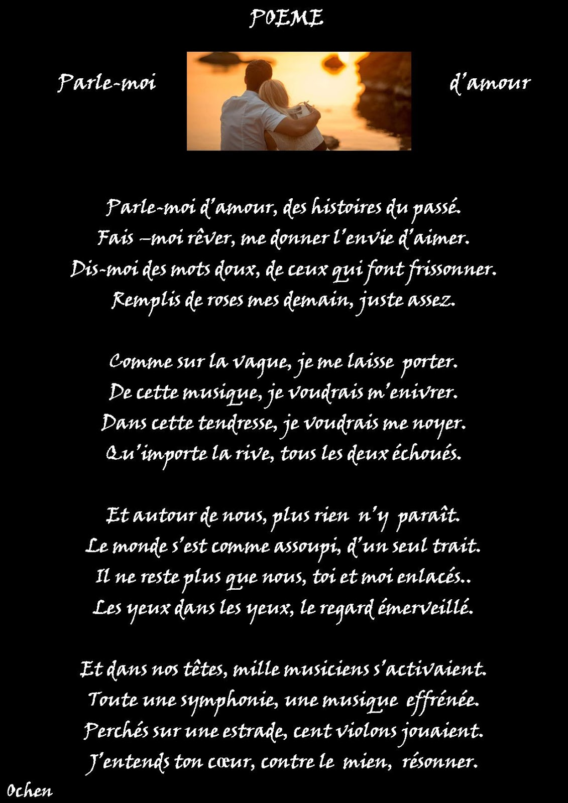Poésie Sur Toile Elias Ochen Poeme Parle Moi Damour