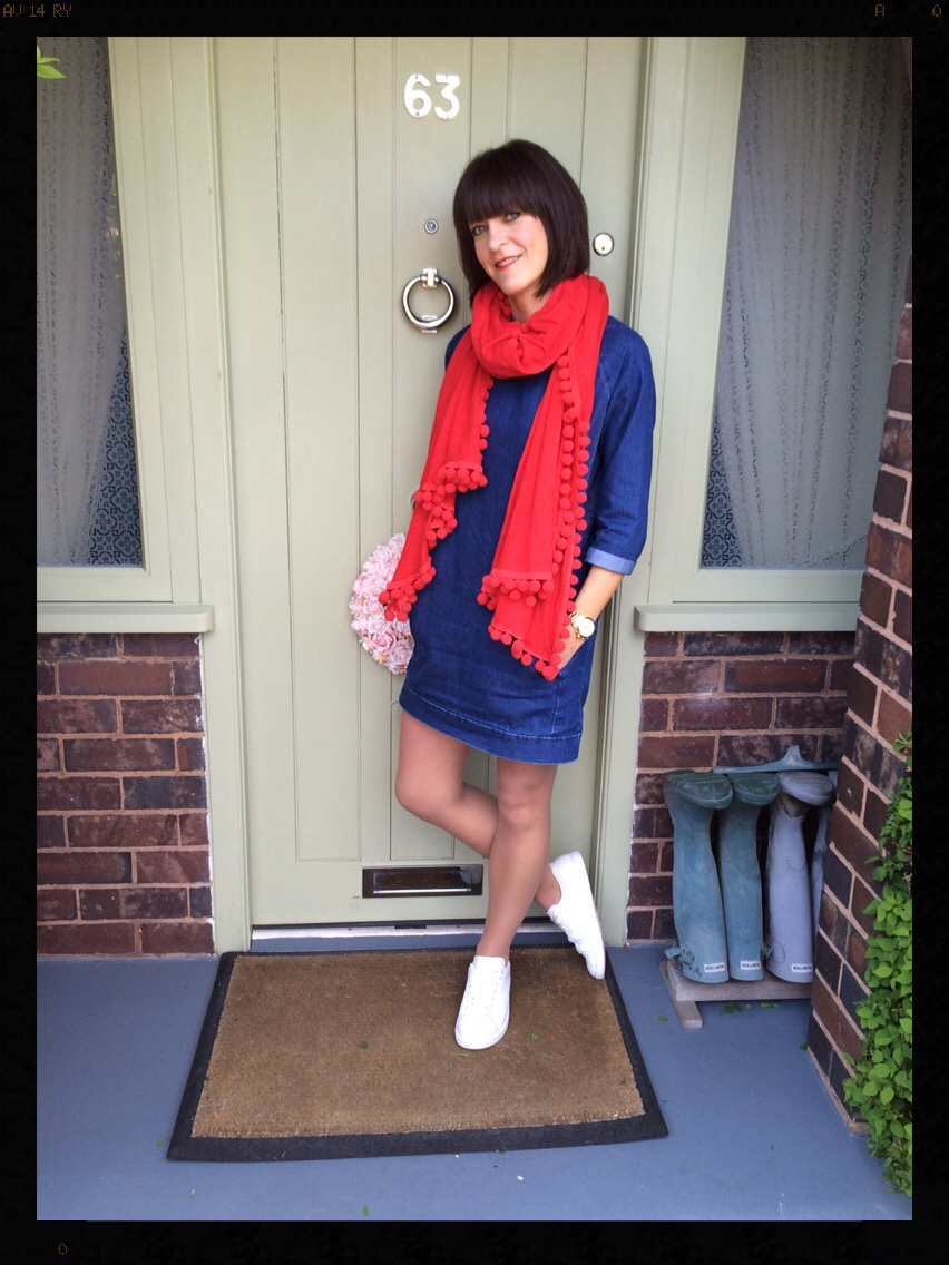 My Midlife Fashion, Zara, Topshop, Mango, Pom poms, Trainers, Denim dress