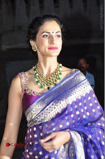 Model Shilpa Reddy Stills in Purple Silk Saree at Gudi Sambaralu 2017 Sri Ramachandra Swami Temple  0015.JPG