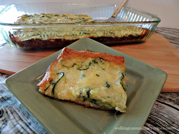 Zucchini Pie on green plate from Walking on Sunshine is perfect for dinner tonight!