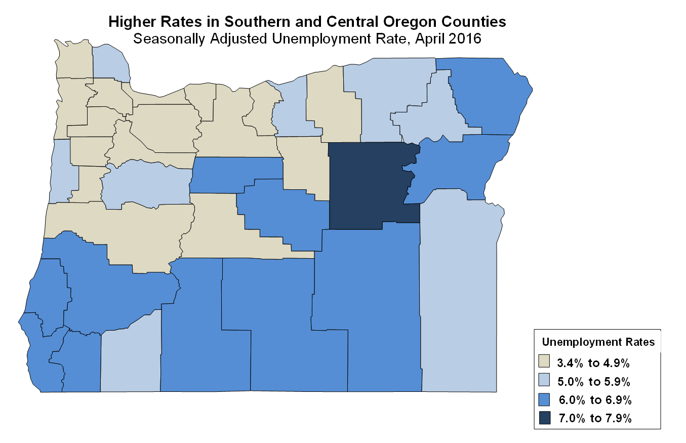 Oregon Workforce And Economic Information Oregons Counties - Us counties with highest unemployment rate