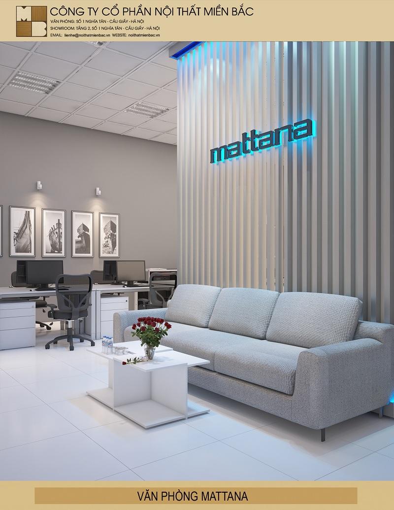 Thiết kế nội thất văn phòng hiện đại với khu vực ngồi chờ ấn tượng thể hiện sự thoải mái cho không gian văn phòng này