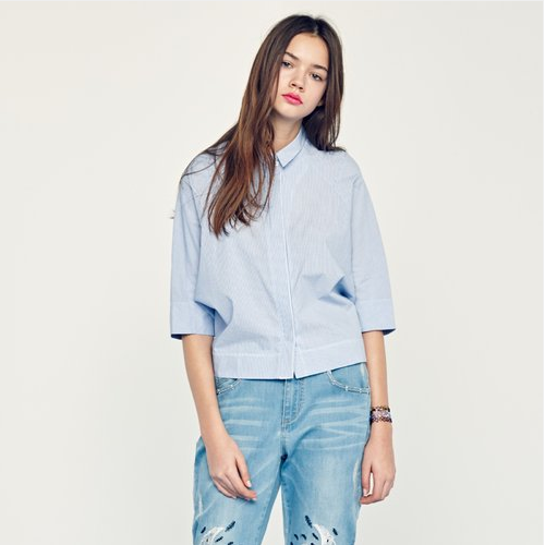 Half-Sleeved Pinstripe Button-Down Blouse