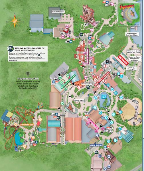 Mapa do Hollywood Studios com Toy Story Land
