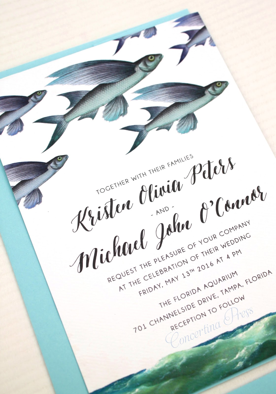 Flying Fish Boho Beach Wedding Invitations from Concertina Press