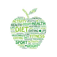 green apple with health terms