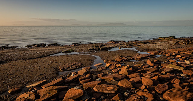Photo of the view across the Solway Firth to the Scottish hills from Maryport promenade