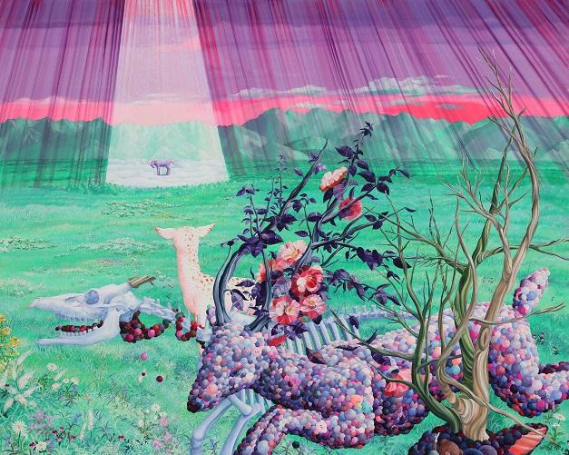 "by Eguchi Ayane, ""Memento mori"", 2017, oil on canvas | imagenes surrealismo pop japones, obras de arte, pinturas, cool art pictures"