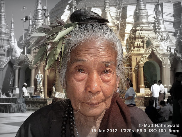Burma, Myanmar, Yangon, people, portrait, headshot, focal black and white, old Burmese woman