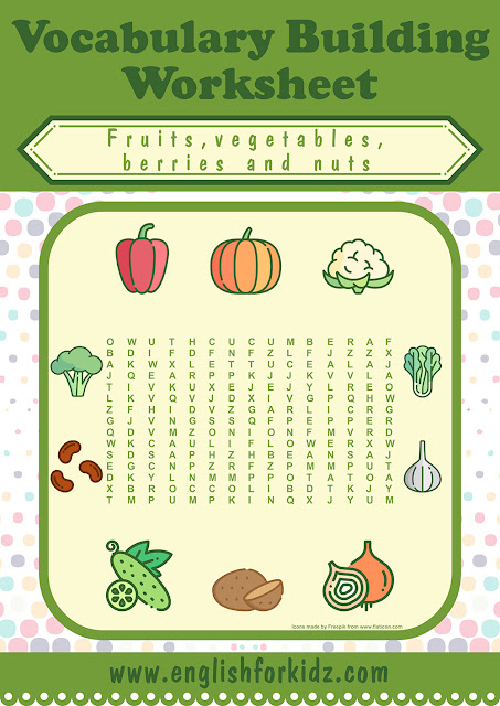 Fruits and vegetables word search worksheet for ESL students