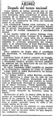 Recorte de La Vanguardia sobre el Torneo Nacional de Ajedrez Barcelona 1926, 7/10/1926