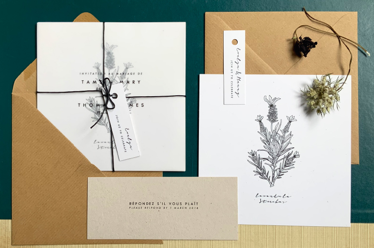 French Botanical Wedding Invitation Suite - Alfie's Studio