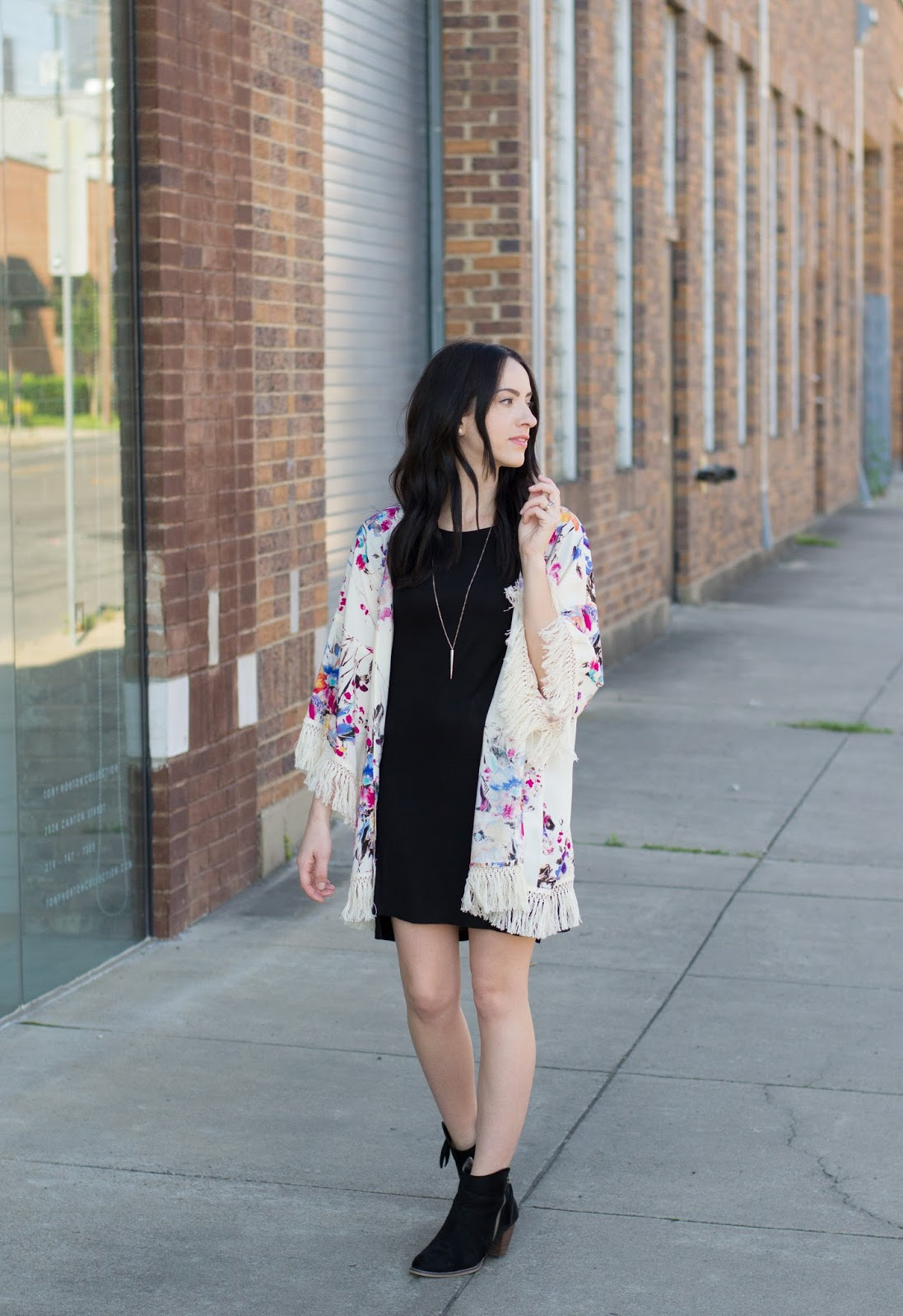 Simple black dress layered with lightweight summer floral kimono