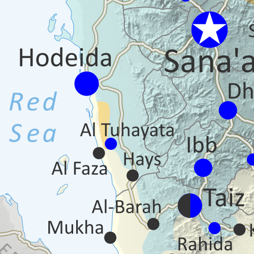 Map of what is happening in Yemen as of June 16, 2018, including territorial control for the unrecognized Houthi government and former president Saleh's forces, president-in-exile Hadi and his allies in the Saudi-led coalition and Southern Movement, Al Qaeda in the Arabian Peninsula (AQAP), and the so-called Islamic State (ISIS/ISIL). Includes recent locations of fighting, including Hodeida, Al Faza, Al Tuhayata, and more. Colorblind accessible.
