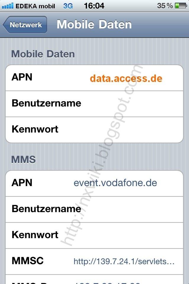 Edeka mobil APN Einstellung iPhone /iPad: