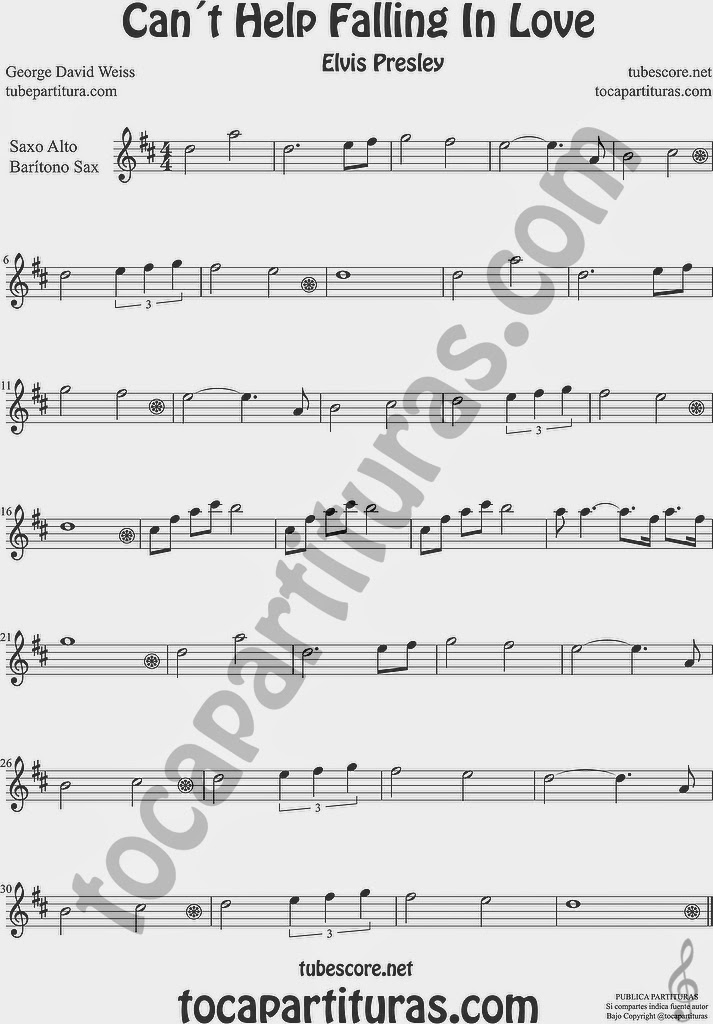 Can´t Help Falling in Love  Partitura de Saxofón Alto y Sax Barítono Sheet Music for Alto and Baritone Saxophone Music Scores