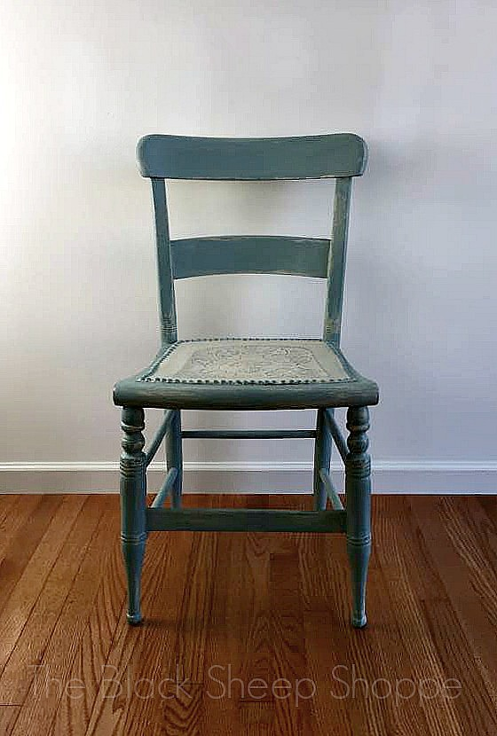 Vintage chair painted in Old Ochre and Duck Egg Blue
