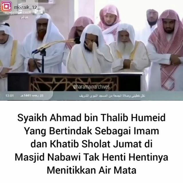Imam Masjid Nabawi Menangis Akibat virus Corona