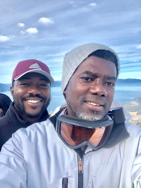 Photos of Reno Omokri skiing in California