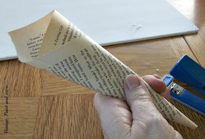 Vintage, Paint andmore... how to roll a book page to make a cone for a book page wreath