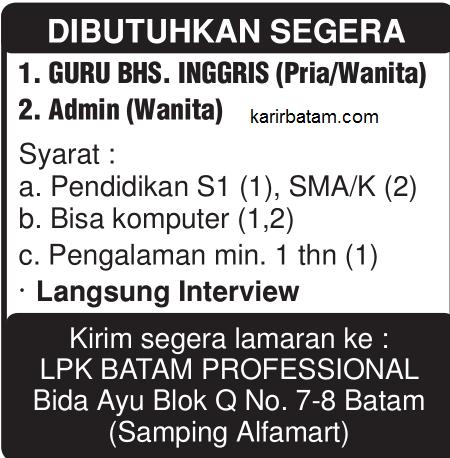 Lowongan Kerja LPK Batam Professional
