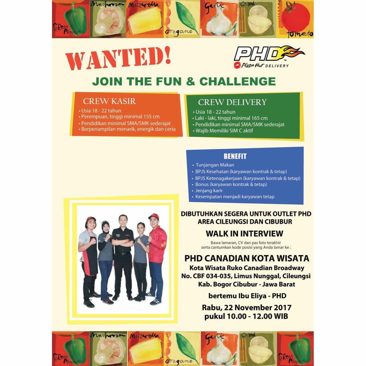 Lowongan Kerja Pizza Hut Delivery ( Walk In Interveiw ) 22 November 2017