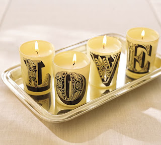 Pottery Barn Love Candle Set