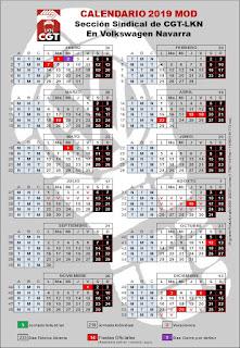 Calendario Laboral Navarra.Calendario 2019 Cgt Lkn Volkswagen