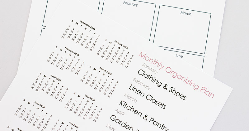 What to Organize Every Month: Free Printable Home Organization Calendar