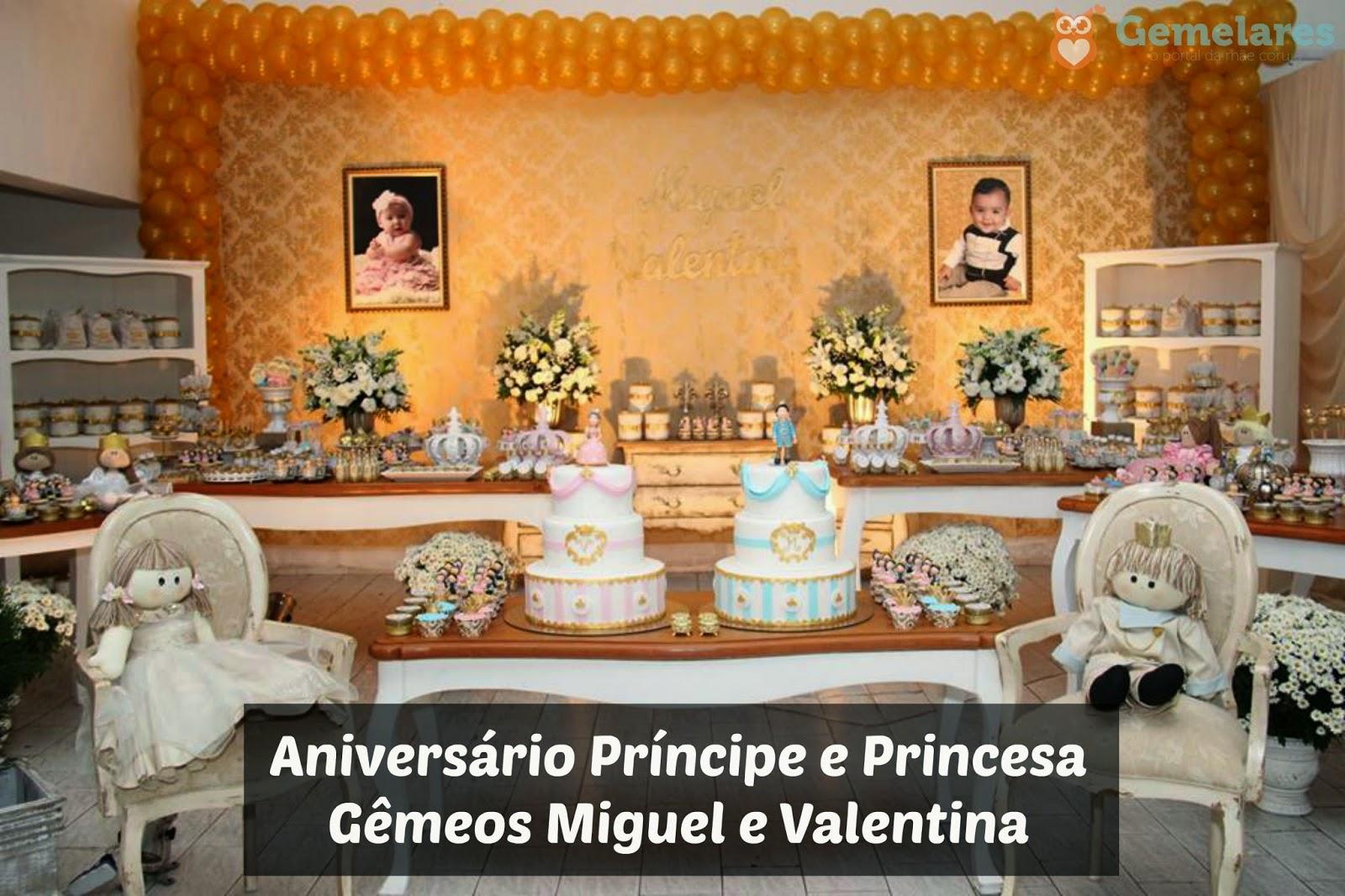 Well-known Aniversário Príncipe e Princesa - Gêmeos Miguel e Valentina  DH55
