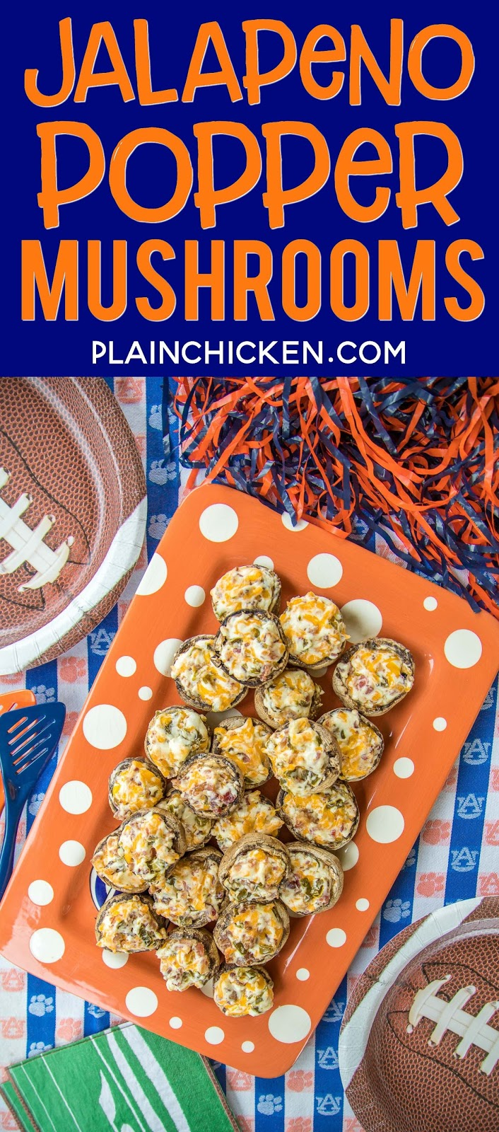 Jalapeno Popper Mushrooms - always the first thing to go at parties! Mushrooms stuffed with cream cheese, garlic, cheddar cheese, bacon and jalapeños. Seriously delicious! Can prep mushrooms ahead of time and refrigerate until ready to bake. Great for parties or a low-carb snack. #partyfood #mushrooms #jalapenopoppers #lowcarb