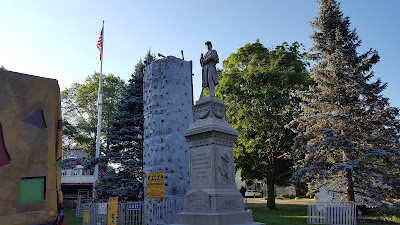 climbing wall next to the Civil War monument