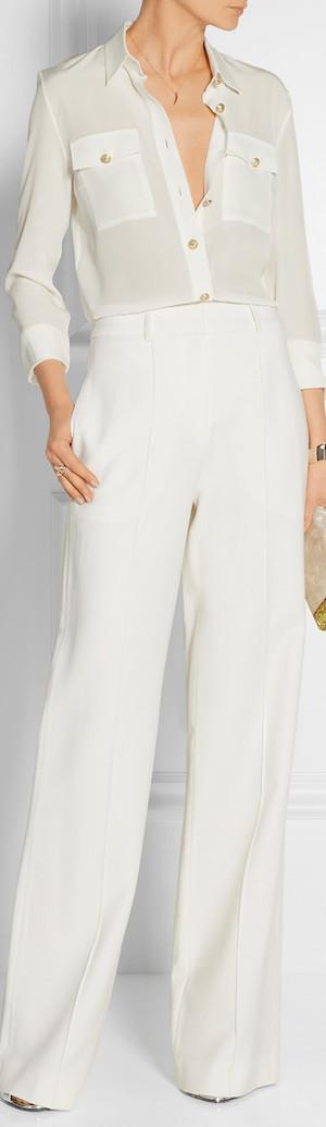 BALMAIN Silk Crepe de Chine Shirt in White