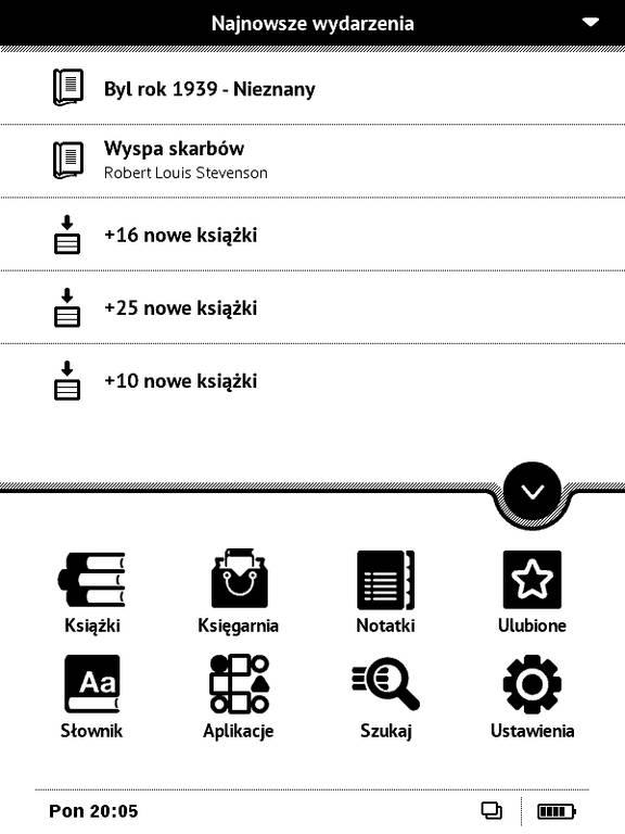 Ekran startowy w PocketBook Basic Touch 2